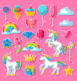 collection of unicorns and fantasy decorative vector image