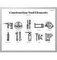 construction tool elements line pack vector image