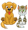 Cute cartoon cat and dog vector image vector image