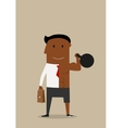 Double businessman with kettlebell and briefcase vector image vector image