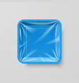 empty blue plastic food square container on gray vector image vector image
