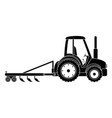 farm tractor with rake vector image vector image