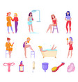 feminine hygiene flat set vector image vector image