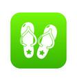 flip flops icon green vector image