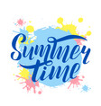 hand drawn lettering summer time logo vector image vector image