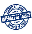 internet of things blue round grunge stamp vector image vector image