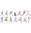 jogging characters running female and male people vector image vector image