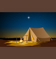 landscape camping tent at on mountain in su vector image vector image