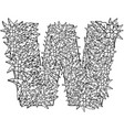 letter w dudling drawing mandala alphabet in th vector image