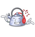 listening music whistling kettle cartoon on the vector image
