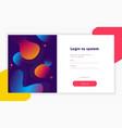 login form page registration form and login form vector image