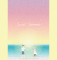 lover couple walking at peachful sunset beach vector image
