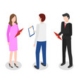 managers on meeting people work on data analysis vector image