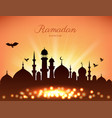 mosque silhouette in sunset sky and light for vector image vector image