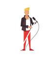 music pop or rock guitarist singer cartoon boy vector image vector image