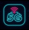 neon sign 5g network vector image vector image