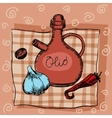Olive oil garlic seasoning and pepper vector image vector image