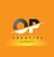 op o p letter modern logo design with yellow vector image vector image