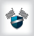 Racing flags and blue shield vector image vector image