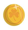 saint patrick day golden coin shamrock icon vector image