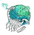 Scorpio zodiac signHoroscope circleWatercolor vector image