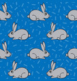 seamless pattern with hand-drawn lovely hares vector image vector image