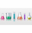set isolated realistic glassware flask or glass vector image