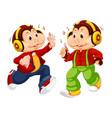 set monkey wearing headphone vector image vector image