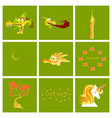 set of cartoon objects cartoon dragons castle vector image vector image