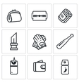 Set of Street Crime Icons Theft Tool vector image vector image