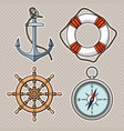 set with isolated anchor lifebuoy ships wheel vector image