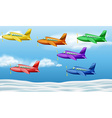Six airplanes flying in the sky vector image