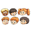 Six heads with different emotions vector image vector image