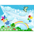 spring background with pinwheels and butterfly vector image