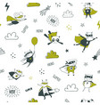 superheroes seamless pattern for kids cartoon vector image vector image