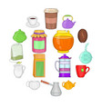 tea and coffee set cartoon style vector image vector image
