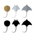 top view stingray in flat and silhouette style vector image vector image
