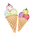 Triple Ice cream Scoops on Two Cones vector image vector image