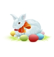 White easter bunny sitting on green grass Bunny vector image vector image
