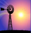 windmill australian silhouette sunset vector image vector image