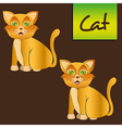 yellow cat sitting with and whitout lines vector image