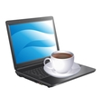 cup of coffee and a laptop vector image