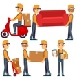 Man carrying boxes delivery service people vector image