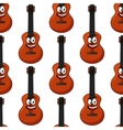Smiling cartoon acoustic guitar seamless pattern vector image