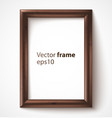 Wooden rectangular 3d photo frame with shadow vector image