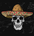 mexican skull with sombrero on background vector image