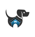abstract dog house logo vector image vector image