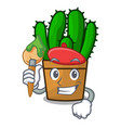 artist spurge cactus in a flowerpot cartoon vector image