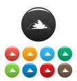 asian mountain icons set color vector image vector image