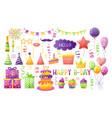 birthday party set cartoon vector image vector image